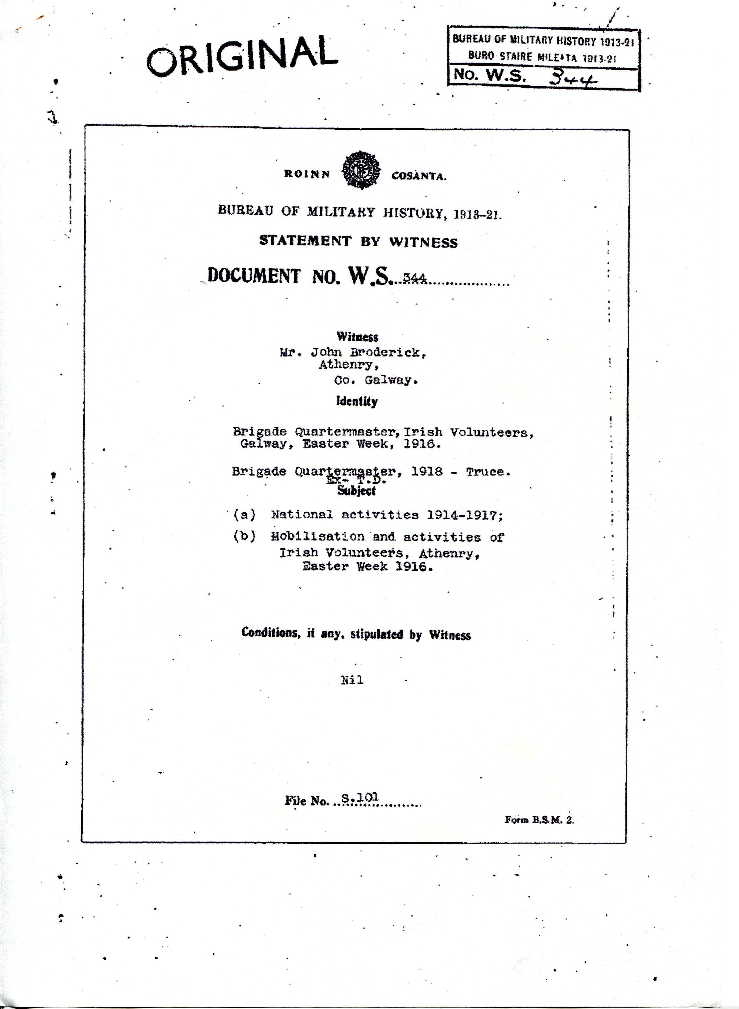 Bureau of Military History – John Broderick | Athenry Parish