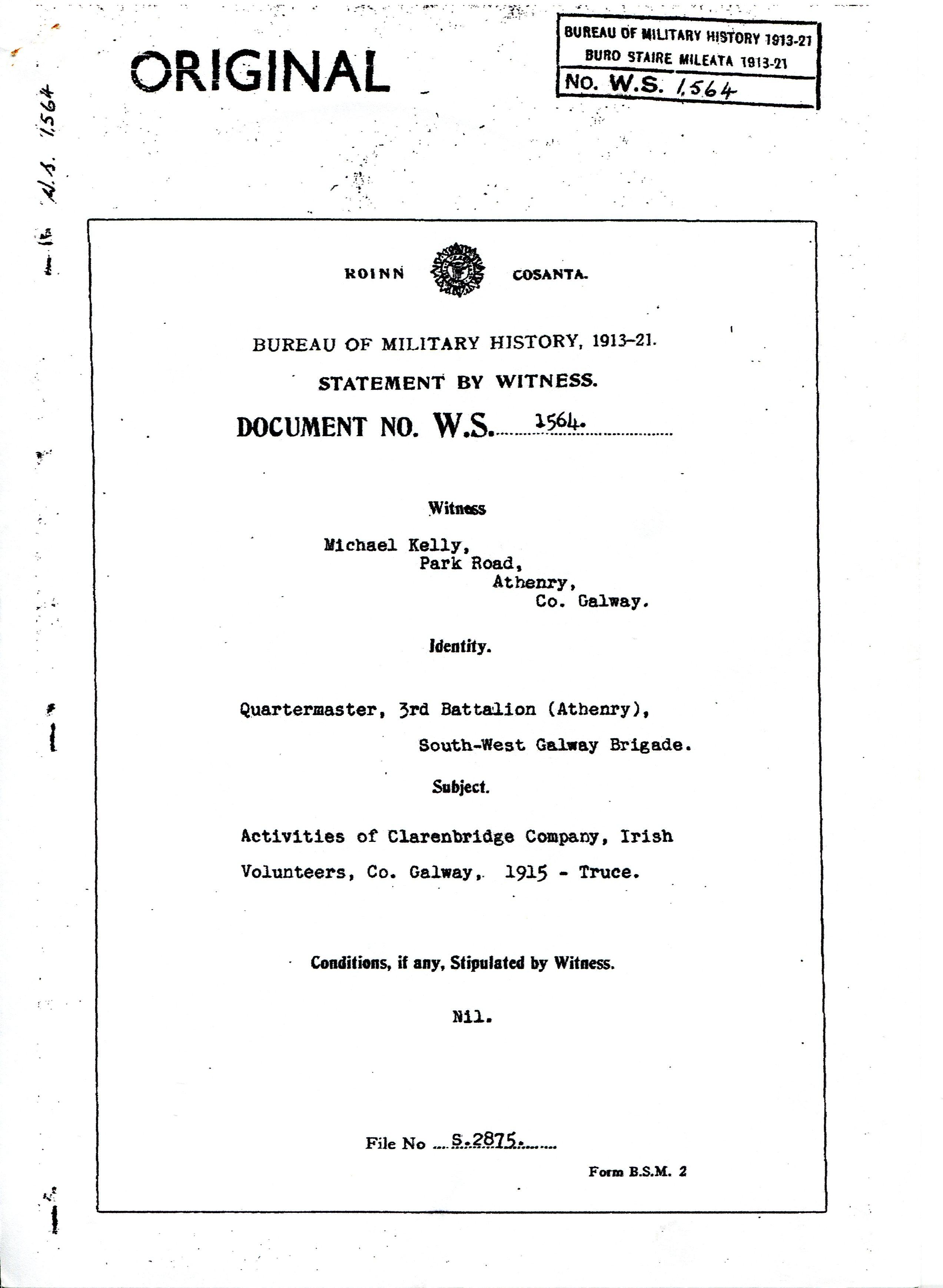 Bureau of Military History – Michael Kelly | Athenry Parish Heritage